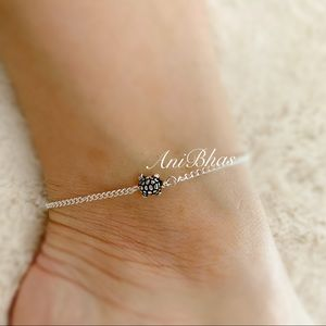 Dainty Bohemian Turtle Silver Tone Anklet